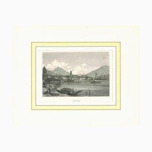 Desconocida, antigua vista de Riva, litografía original, principios del siglo XIX