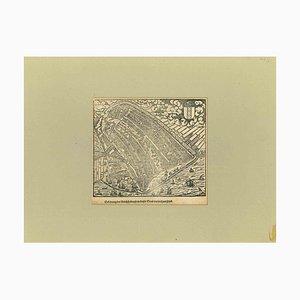 Desconocido, Vista aérea de Malta, Xilografía original, principios del siglo XIX