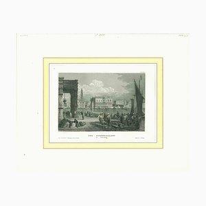 Desconocido, Vista antigua del Palacio Ducal de Venecia, Litografía original, siglo XIX