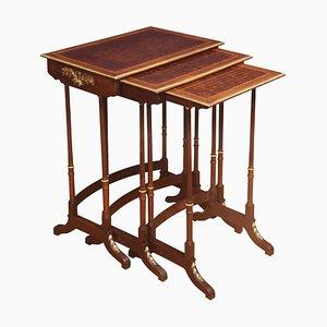 Nest Nussholz Tische mit Parkett, 3er Set