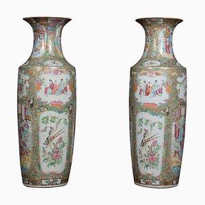 Kantonesische Vasen, 19. Jh., 2er Set