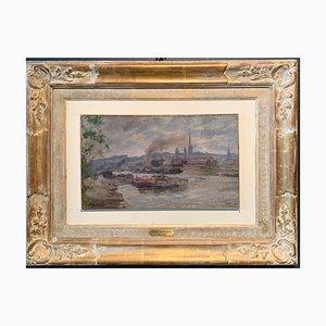Charles Jean Agard Vue de Rouen, France, Huile, 19ème Siècle, 1898