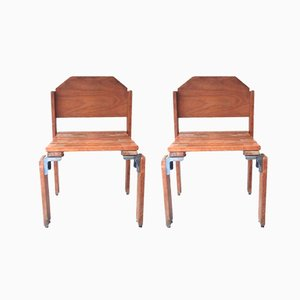 Wooden Chairs by Georges Candilis and Anja Blomstedt, 1960s, Set of 2
