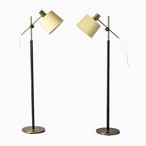 Lampade da terra in ottone di Falkenbergs Belysning, set di 2