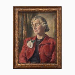 Hamish Paterson, Porträt einer Dame mit rotem Mantel