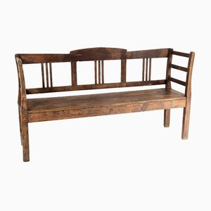 European High-Back 3-Seater Farmhouse Hall Bench in Solid Pine