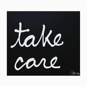 Take Care, 3D Text Collage von Ben Vautier