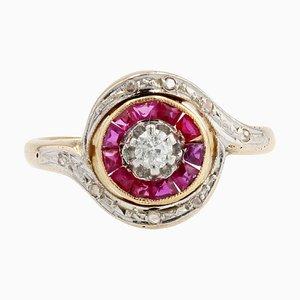 20th-Century Ruby & Diamonds 18 Karat Yellow Gold Swirl Ring, 1950s