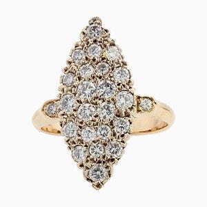 Diamond 18 Karat Yellow Gold Shuttle Shaped Ring, 1950s