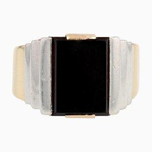 Art Deco Onyx 18 Karat Gelbgold Platin Ring, 1930er