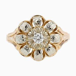Anillo flor de oro amarillo de 18 kt con diamantes, años 50