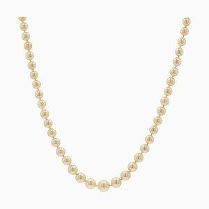 Französische Goldene Fallende Zuchtperlen Halskette, 1950er