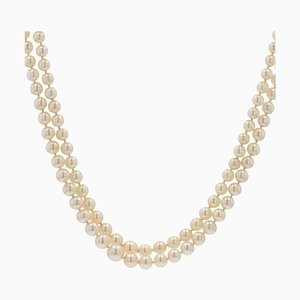 French Double Row Cultured Falling Pearl Necklace