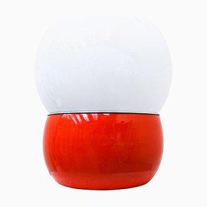 Rote italienische Mid-Century Modern Schreibtischlampe aus Metall & Glas, 1960er