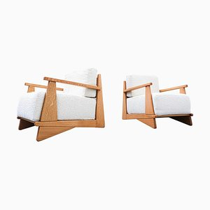 Armchairs in Oak with White Fabric, 1950s, Set of 2