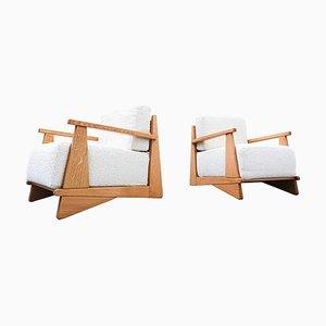 Armlehnstühle aus Eiche mit weißem Stoff, 1950er, 2er Set