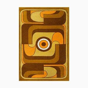 Abstrakter Wollteppich in Orange, Gelb & Braun, 1970er