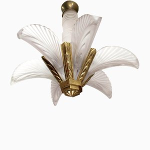 French Art Deco Feather Chandelier, 1930s