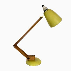 Vintage Maclamp Yellow Table Lamp with Wooden Arms by Terence Conran for Habitat