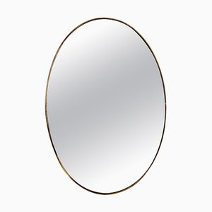 Mid-Century Italian Oval Wall Mirror with Brass Frame, 1950s