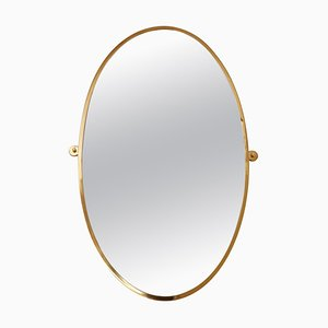Mid-Century Italian Oval Wall Mirror with Brass Frame, 1970s