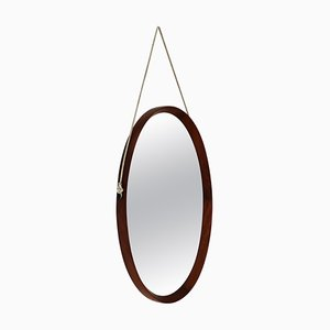 Mid-Century Italian Oval Teak Wall Mirror with Cord Hanging, 1960s