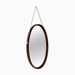 Specchio da parete ovale Mid-Century in teak, Italia, anni '60