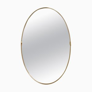 Mid-Century Italian Oval Wall Mirror with Golden Frame and Brass Details, 1960s