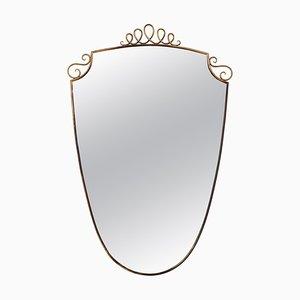 Miroirs Mid-Century en Laiton avec Décoration dans le Style de Gio Ponti, Italie, 1950s, Set de 2