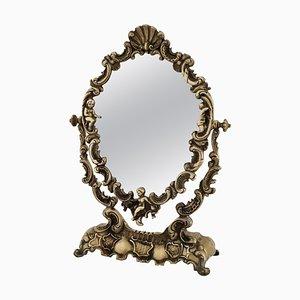 Tocador italiano Mid-Century con espejo de bronce con ángeles, años 50
