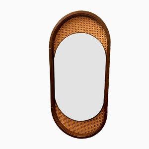 Ovaler Vintage Spiegel aus Wiener Stroh, 1970er