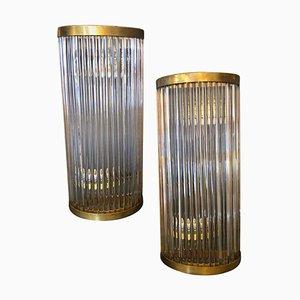 Italienische Mid-Century Modern Messing & Glas Wandlampen von Gaetano Sciolari, 1970er, 4er Set