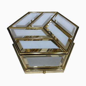Plafonnier Hexagonal Mid-Century en Laiton et Verre, Italie, 1970s