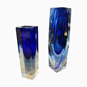 Blaue Mid-Century Modern Murano Glasvasen von Seguso, 1970er, 2er Set