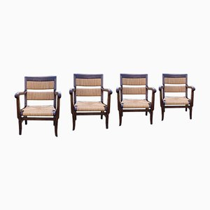 Mulled Armchairs in Basque Style, 1960s, Set of 4