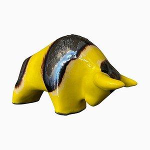 German Yellow and Black Fat Lava Ceramic Bull from Otto Keramik, 1970s