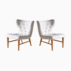 Lounge Chairs in Ivory Linen and Elm by Eric Bertil Karlén, Sweden, 1940s, Set of 2