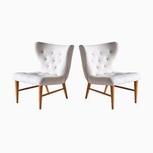 Sessel aus Elfenbeinfarbenem Leinen und Ulmenholz von Eric Bertil Karlén, Schweden, 1940er, 2er Set