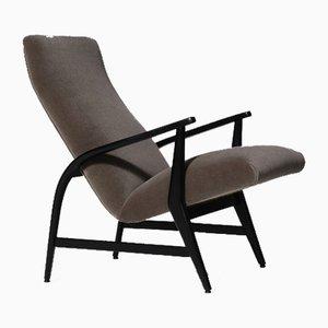 Italian Mid-Century Modern Lounge Chair in Mohair