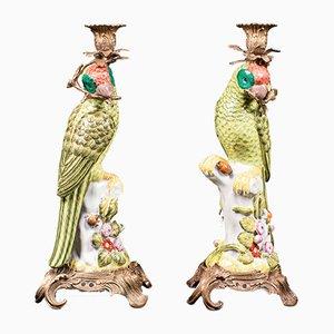 Chinesische Vintage Kerzenständer aus Keramik, 2er Set