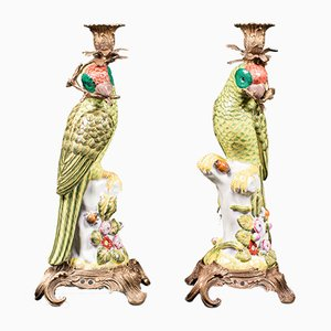 Vintage Chinese Figural Candlesticks in Ceramic, Set of 2