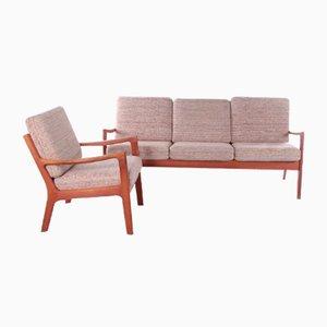 Banco y silla Senator de teca de Ole Wanners para PJ Furniture, años 60. Juego de 2