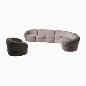Large Italian Curved Corner Sofa and Armchair, 1970s