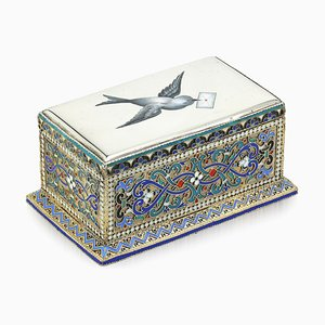 19th Century Russian Solid Silver & Enamel Stamp Box, 1880s