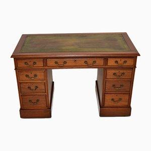 Antiker Schreibtisch aus Leder mit Sockelplatte