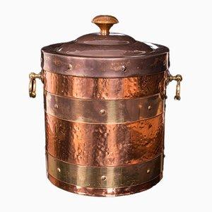 Antique Edwardian English Fireside Bin in Copper & Brass