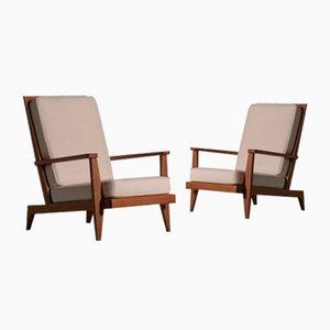 Lounge Chairs in Oak by René Gabriel, France, 1946, Set of 2