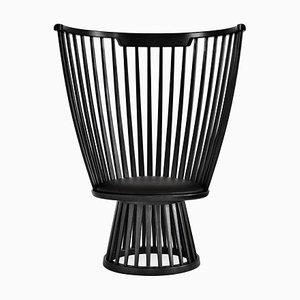 Fan Chair aus schwarzem Eschenholz & Leder von Tom Dixon