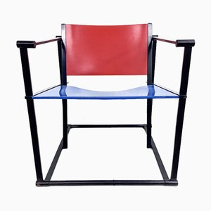 Cubus Red and Blue Armchair by Raboud Van Beekum for Pastoe, 1980s