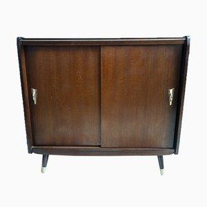 Dark Wood Cabinet or Sideboard with Sliding Doors, 1960s